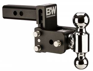 "Towing - Adjustable Ball Hitches - B&W Trailer Hitches - B&W Tow And Stow Dual Ball 2"" Adj Ball Mount 3"" Drop/3-1/2"" Rise, Black - TS10033B"