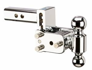 "Towing - Adjustable Ball Hitches - B&W Trailer Hitches - B&W Tow And Stow Dual Ball 2"" Adj Ball Mount 3"" Drop/3-1/2"" Rise, Chrome - TS10033C"