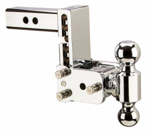 "Towing - Adjustable Ball Hitches - B&W Trailer Hitches - B&W Tow And Stow Dual Ball 2"" Adj Ball Mount 5"" Drop/5-1/2"" Rise, Chrome - TS10037C"