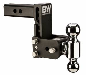 "Towing - Adjustable Ball Hitches - B&W Trailer Hitches - B&W Tow And Stow Dual Ball 2"" Adj Ball Mount 5"" Drop/5-1/2"" Rise, Black - TS10038B"