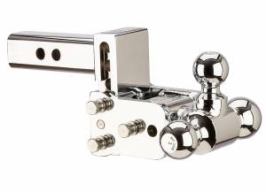 "Towing - Adjustable Ball Hitches - B&W Trailer Hitches - 6"" Chrome T&S, Tri-Ball-Boxed - TS10047C"