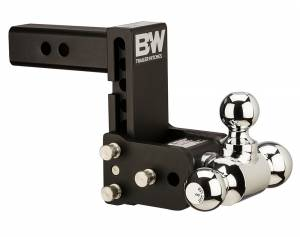 "Towing - Adjustable Ball Hitches - B&W Trailer Hitches - 8"" Blk T&S, Tri-Ball-Boxed - TS10048B"