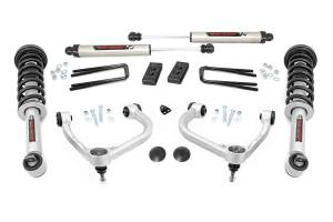 """Rough Country 3"""" 2021 Ford F-150 Bolt On Arm Lifted Struts V2 Monotube Shocks Lift Kit 57770A"""